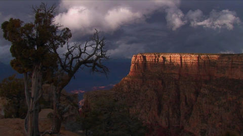 Dark clouds move over mesas in Grand Canyon Nation Footage