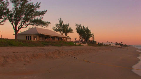 Beach houses during sunset, Briny Breeze Florida Stock Video Footage