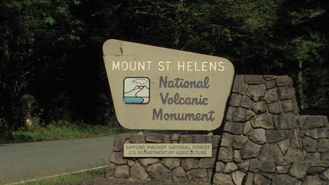 A Mount St. Helens National Volcanic Monument Sign stock footage