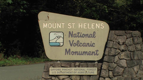 A Mount St. Helens National Volcanic Monument sign Stock Video Footage