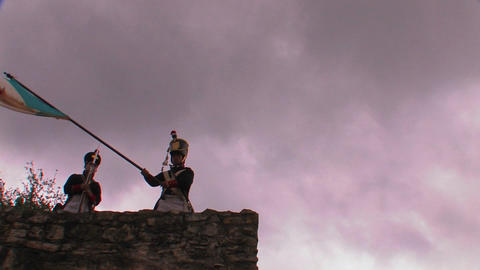 A soldier waves the Flag of Mexico at a reenactmen Stock Video Footage