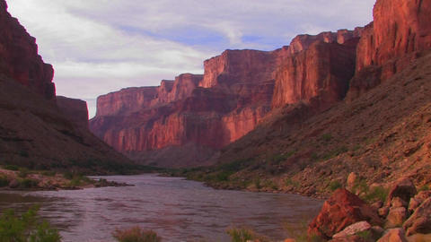 The Colorado River flows through a beautiful stret Footage