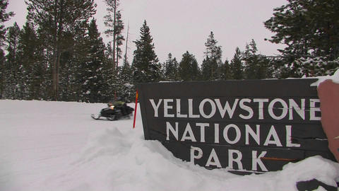 The entrance to Yellowstone National Park in winte Footage