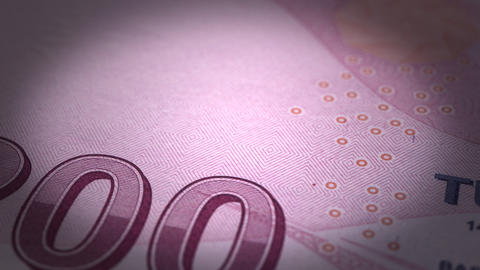Turkish Lira Close-up Stock Video Footage