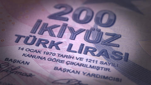Turkish Lira Close-up Animation