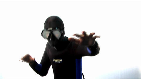 A man wearing a full body wetsuit, hood and goggle Footage
