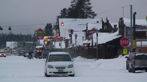 The small town of West Yellowstone in winter Stock Video Footage