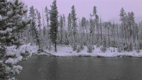 A snowstorm on a frozen lake or stream Footage