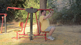 Seated Push Fitness Machine stock footage