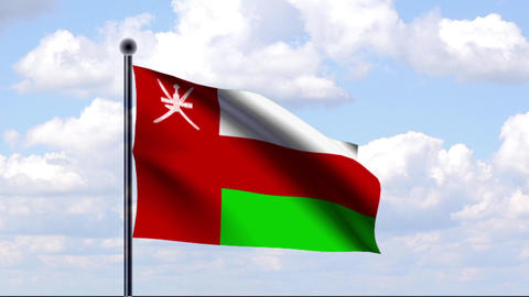 Animated Flag of Oman / Animierte Flagge von Oman Stock Video Footage