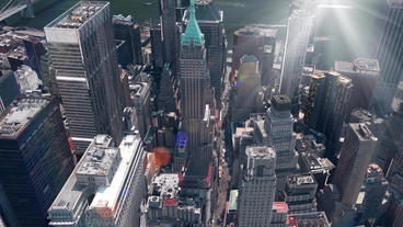 aerial view of New york & sunlight,spectacular city landscape Animation
