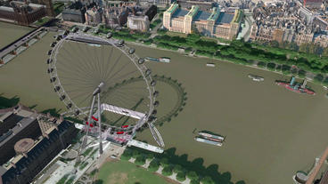 a bird's-eye view of London eye Stock Video Footage