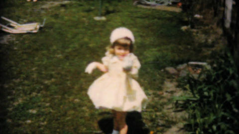 Girl In Yellow Dress Finds Easter Egg 1961 Vintage Footage
