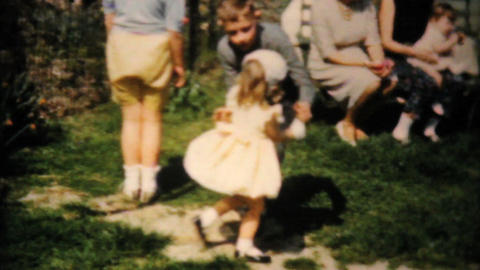 Kids Looking For Easter Eggs 1961 Vintage 8mm film Stock Video Footage