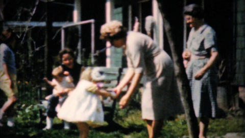 Young Girls Give Easter Eggs To Mother 1961 Stock Video Footage