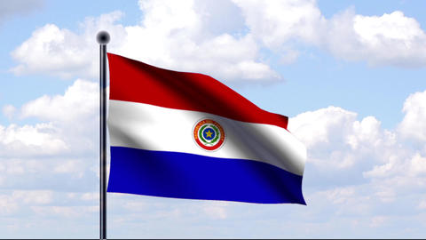Animated Flag of Paraguay Stock Video Footage