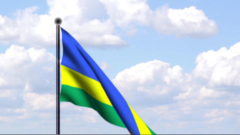 Animated Flag of Rwanda / Ruanda Stock Video Footage