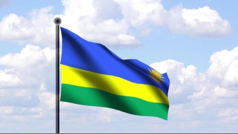 Animated Flag of Rwanda / Ruanda Stock Video Footage