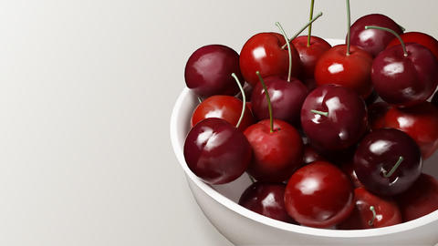 cherry close up white background Stock Video Footage