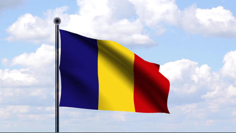 Animated Flag of Romania / Rumänien Stock Video Footage
