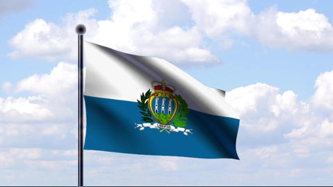 Animated Flag of San Marino Stock Video Footage