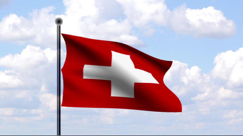 Animated Flag of Switzerland / Schweiz Stock Video Footage