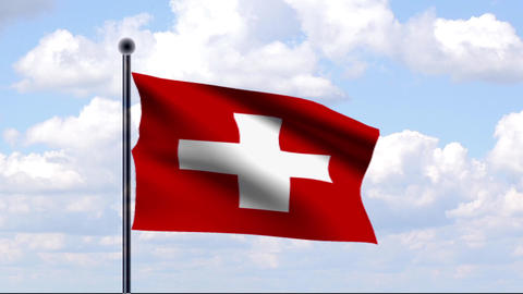 Animated Flag of Switzerland / Schweiz Stock Video Footage