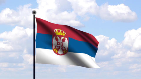 Animated Flag of Serbia / Serbien Stock Video Footage