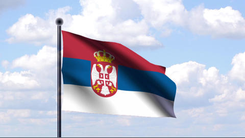 Animated Flag of Serbia / Serbien Stock Video Footage
