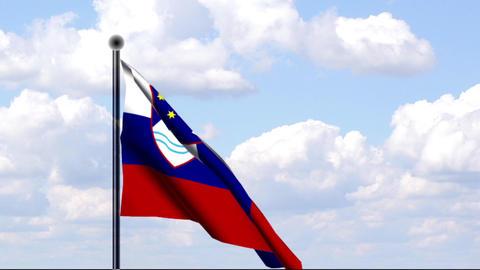 Animated Flag of Slovenia / Slowenien Stock Video Footage
