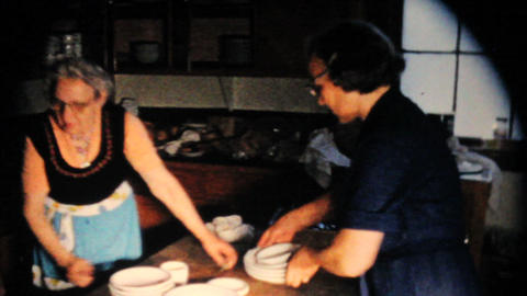 Ladies Cleaning Plates In Kitchen 1963 Vintage 8mm Stock Video Footage