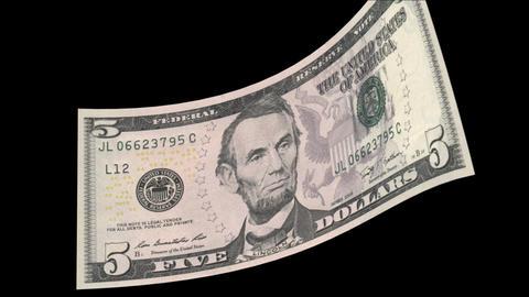 US 5 Dollar Bill Stock Video Footage