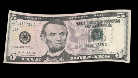 US 5 Dollar Bill Stock Video Footage