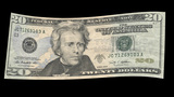 US 20 Dollar Bill Blowing In The Wind stock footage