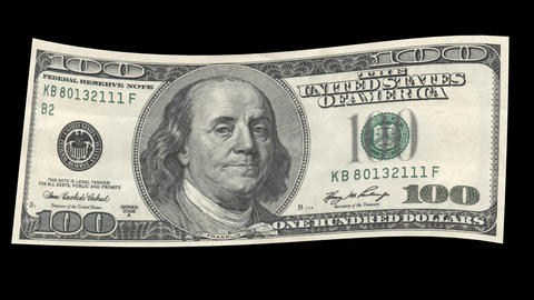 US 100 Dollar Bill blowing in the wind Animation