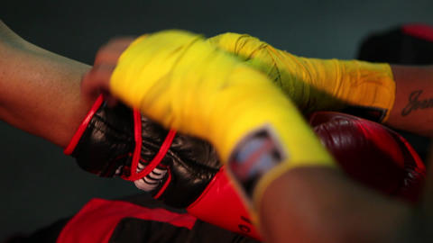 Tie on Boxing Gloves Short Version Stock Video Footage