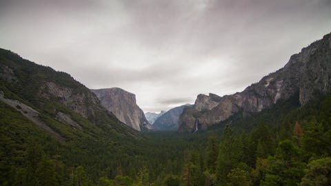 Wide Shot Cloudy Morning of Yosemite Valley Footage