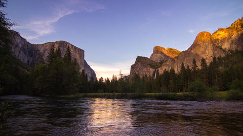 Day To Night Time Lapse Of Yosemite Valley stock footage