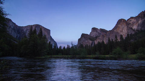 Day to Night Time Lapse of Yosemite Valley Stock Video Footage