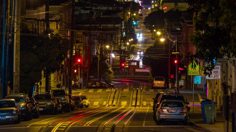 San Francisco Cable Car at Night Stock Video Footage