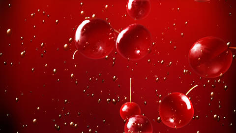 cherry falling down in soft drink Animation