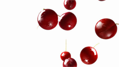 cherry falling down white Animation