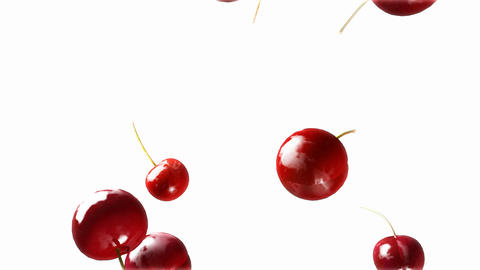 cherry falling down white Stock Video Footage