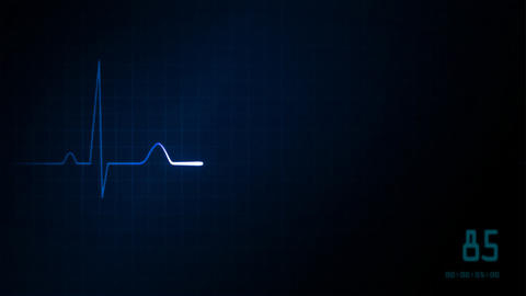EKG monitor blue graphic Animation