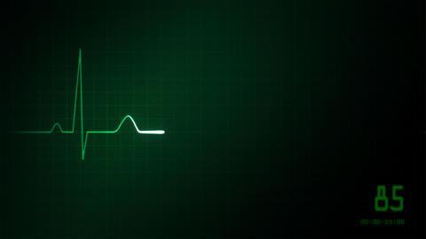 heart on an EKG monitor green Stock Video Footage