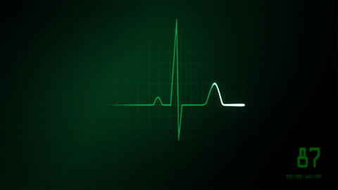 heart on an EKG monitor green Animation