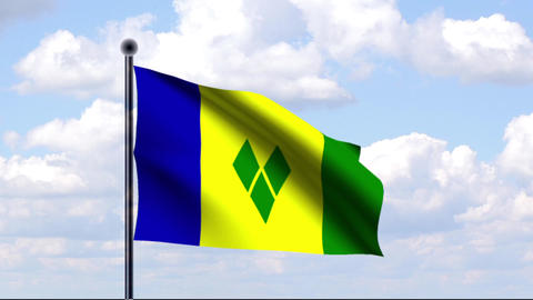 Animated Flag of St. Vincent and the Grenadines Stock Video Footage