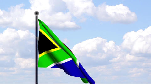 Animated Flag of South Africa / Südafrika Stock Video Footage