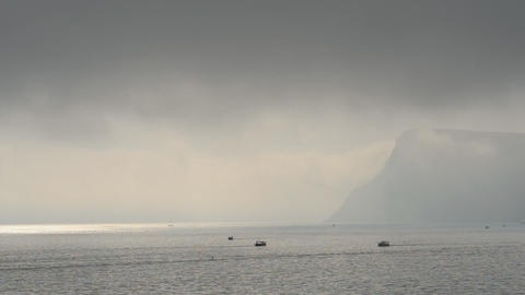 Boats on the sea in the fog Stock Video Footage