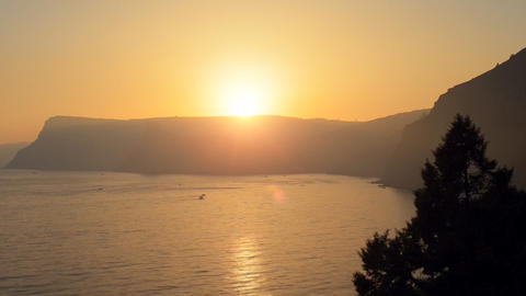 Beautiful sunset over the sea.Time lapse Stock Video Footage